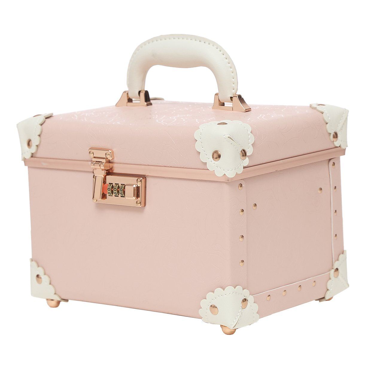 ad9153faa7b9 Portable Makeup Train Case Double Layer Cosmetic Bags Leather Toiletry Case  for Women Elegant Pink 10