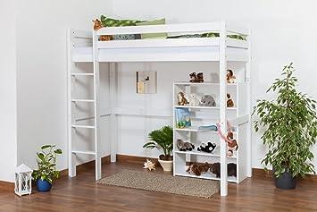 Hochbett Holz Weiß 90x200 : Kinderbett hochbett dominik buche vollholz massiv weiß