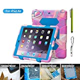 iPad Case,iPad 5 Case,iPad Air Case,ACEGUARDER®[Heavy Duty]iPad Case,Three Layer Armor Defender And Full Body Protective Case Cover With Kickstand And Screen Protector for Apple iPad Air(iPad 5)[Gifts Outdoor Carabiner + Whistle + Handwritten Touch Pen] - Pink Camo/Blue