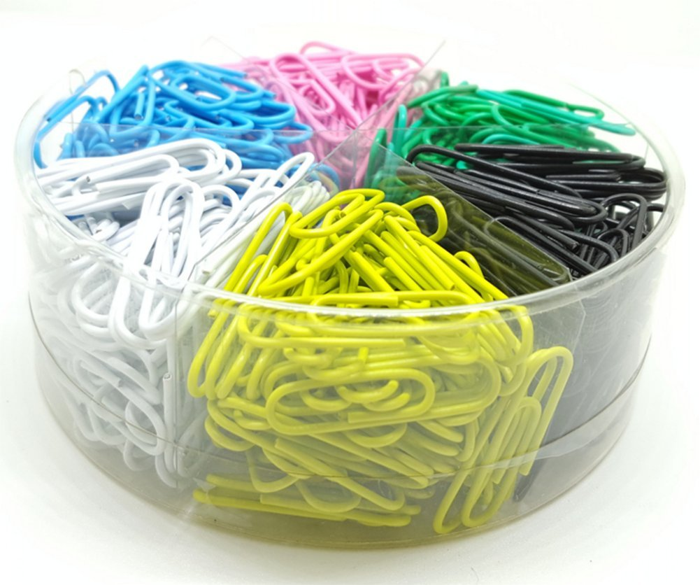 color Longeur oyfel Clips Fantas/ía de papel de Metal con caja de almacenaje 6/compatriments para documentos carpetas color aleatorio 600pcs 33mm 500pcs
