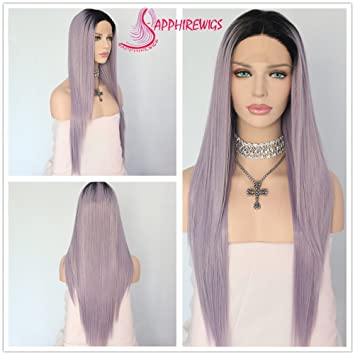 Amazon.com   Sapphirewigs Holiday Present Black Ombre Light Purple Blogger  Internet Celebrity Daily Makeup Synthetic Lace Front Wigs   Beauty ce4aae438704