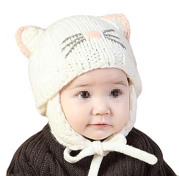 1c20a83ab9d0 TININNA Mignon Mode Tricot Crochet Hiver Chaud Chapeau Bonnet Chat Cache Oreille  Beanie Capuchon Casquette Calotte