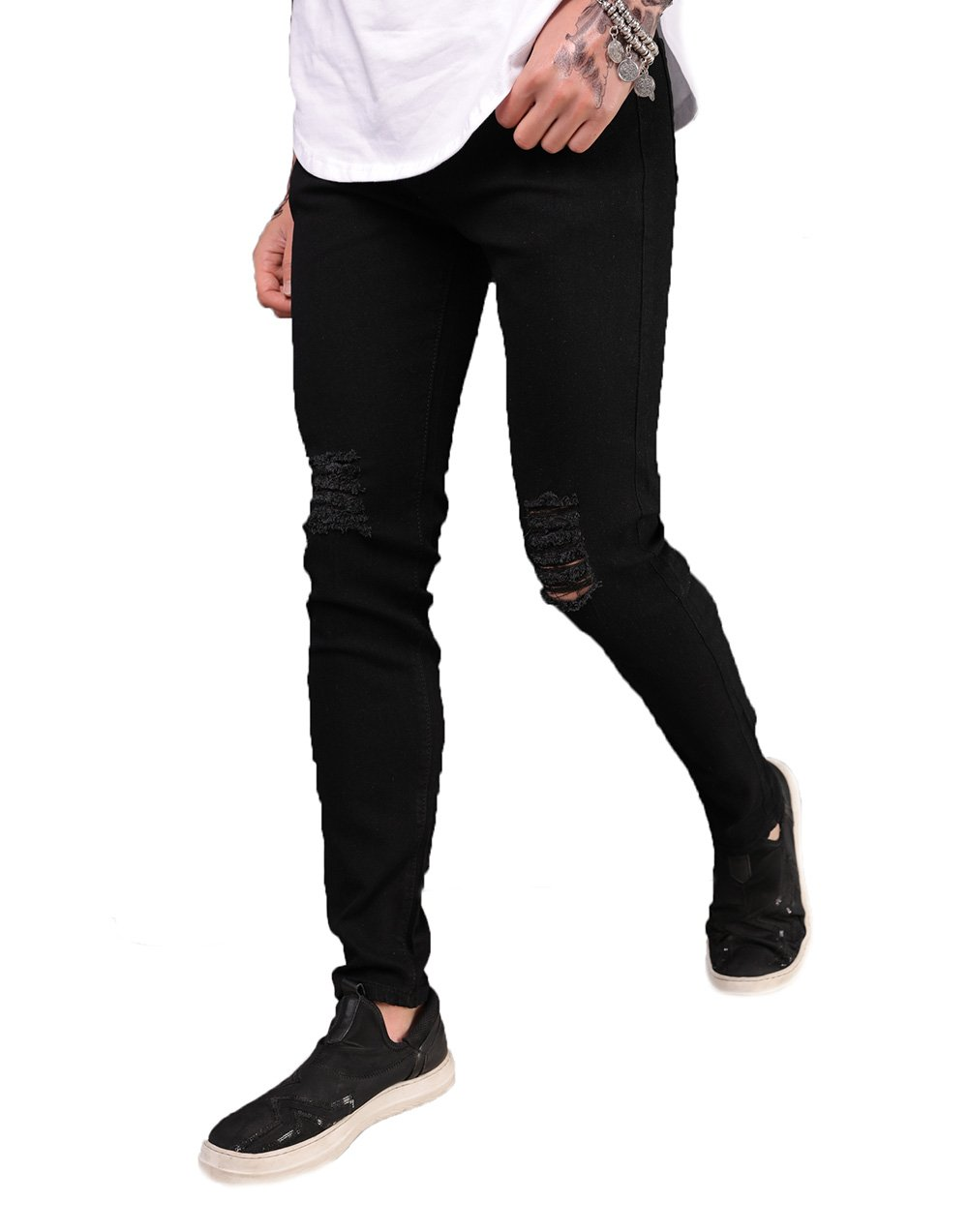 XARAZA Men's Ripped Distressed Skinny Summer Jeans Stretchy Slim Fit Pencil Pants (US 35, Black)