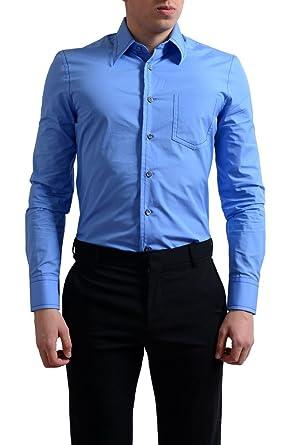 8f51bbae1c Prada Men's Blue Button Down Dress Shirt US 14 1/2 IT 37; at Amazon Men's  Clothing store: