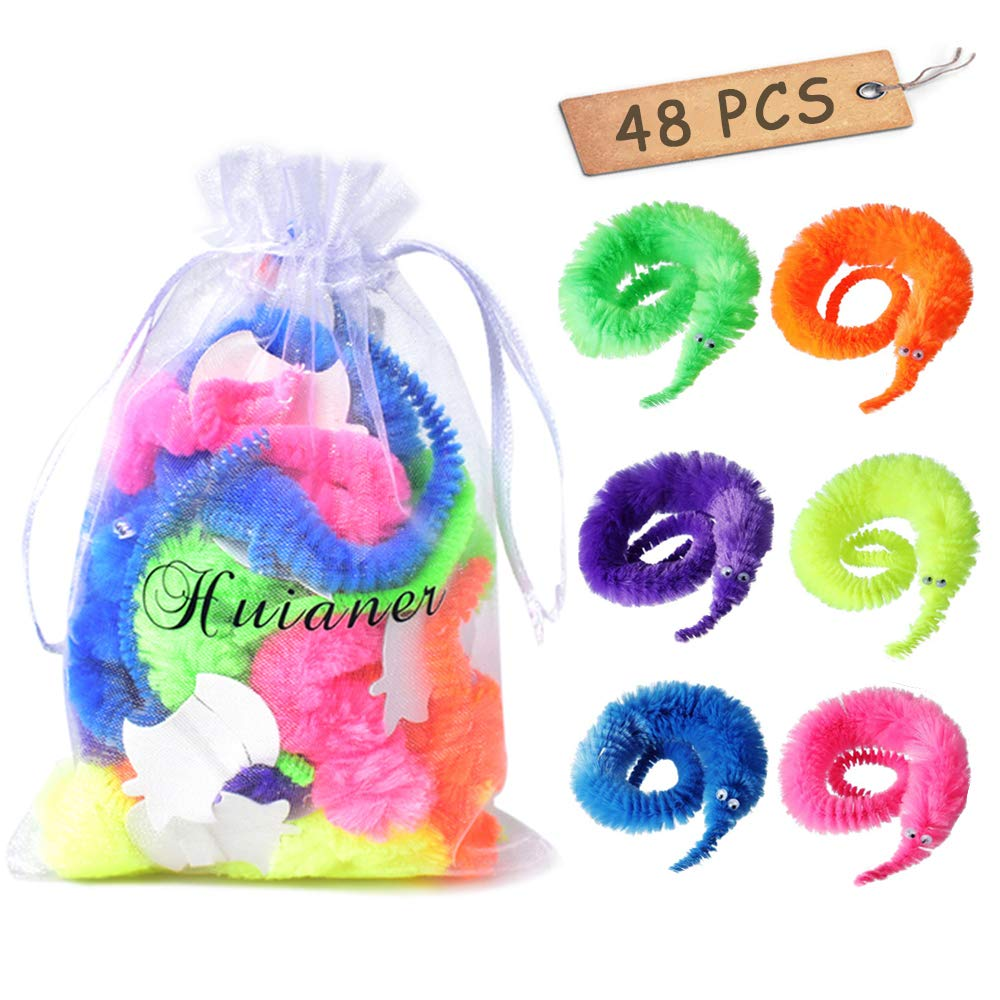 huianer 48 pcs Magic Worm Toys Wiggly Twisty Fuzzy Carnival Party Favors(Random Color) by huianer