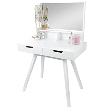 Hartleys White Modern Dressing Table U0026 Mirror