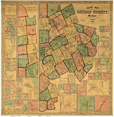(Oxford County Maine 1858 - Wall Map with Homeowner Names - Old Map)
