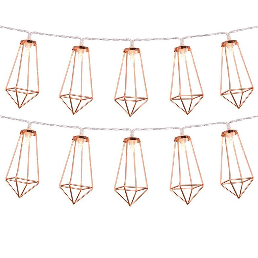 LuxLumi Diamonds are Forever Rose String Lights Gold & Wire Caged, Batteries Included Soft White 20 LED for Rustic Bedroom, Living Room, Home Décor, Party, Bridal Shower & Baby Shower (Pack of 2)