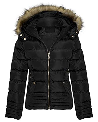Shelikes Womens Fur Trim Puffer Padded Jacket Uk S 2xl At Amazon
