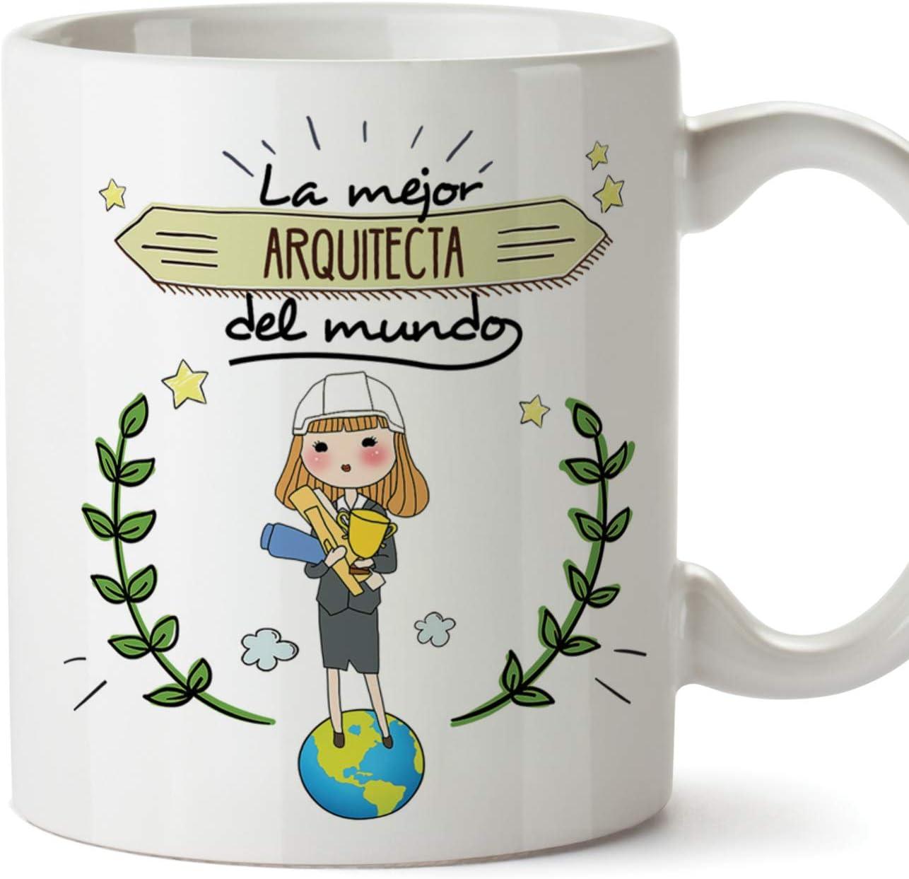 MUGFFINS Arquitecta Tazas Originales de café y Desayuno para Regalar a Trabajadores Profesionales - La Mejor Arquitecta del Mundo - Cerámica 350 ml