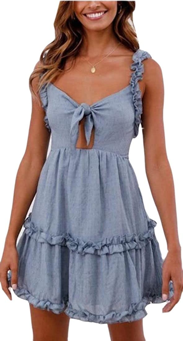 WSPLYSPJY Womens Cut Out Tie Front Sleeveless A-Line Mini Dress