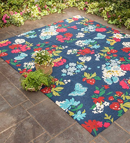 Berry Hooked Rug - Indoor/Outdoor Butterfly Garden Rug, 5' x 7'5
