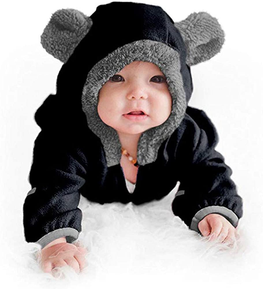 WUAI-Baby Clothes Newborn Baby Warm Snowsuit Fleece Hoodie Romper Jumpsuit Mitten Bootie Cuffs Outfits