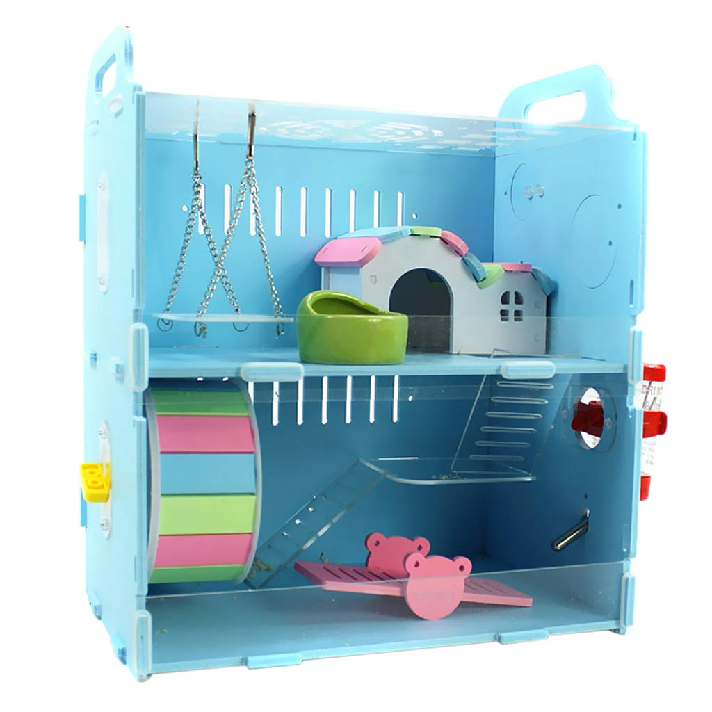 bluee double layer Perfeclan Hamster House Hut Hideout for Small Animals Dwarf Hamster Gerbil Mouse Guinea Pig With Tubes Wheel Drinking Bathing  bluee double layer