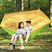 Garden Swing Seat for Kids,Hulorry Double Outdoor Hammock Portable Hammock Chair Garden Beach Backyard with Mosquito Net Hanging Swing for Hiking,Travel,Camping Lightweight Parachute