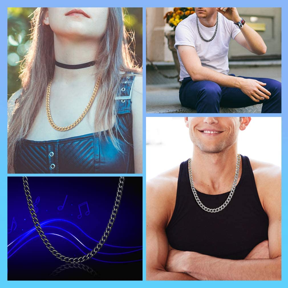 Send Gift Box 3//5//8//9//12 MM Width 16-32 Inch Length Personalized Necklaces FaithHeart Mens NK 1:1 Curb Link Chain Necklace Hip-Hop Strong Stainless Steel Figaro Chains