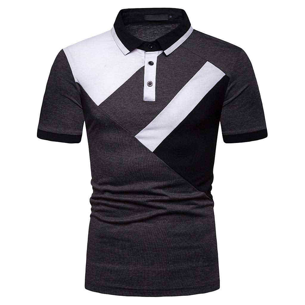 Fashion Mens Shirt Casual Slim Tops Summer Short Sleeve Color Patchwork Stand Collar Button Polo Business Blouse
