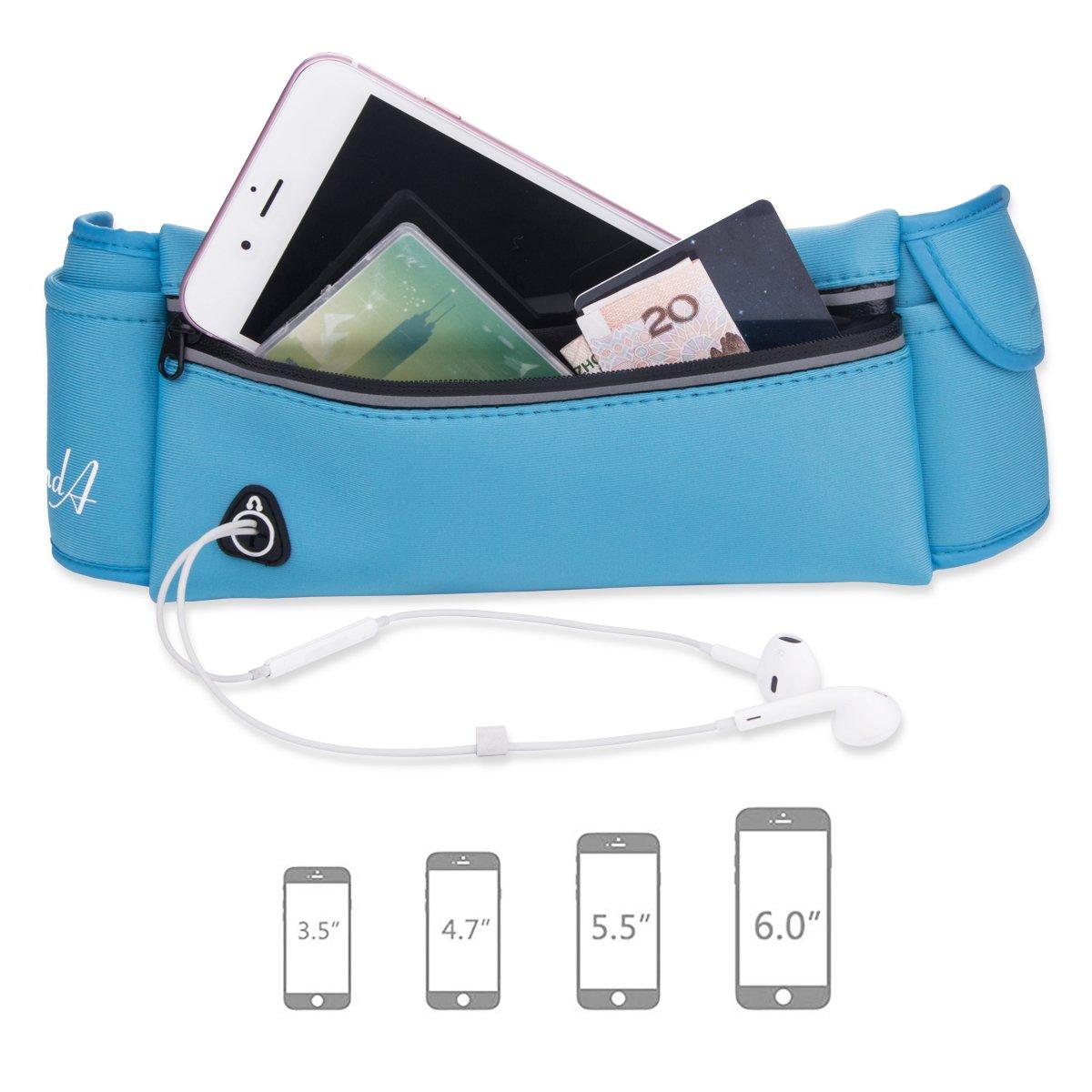 RundA Riñonera para correr, resistente al agua, cinturón, cintura, ajustable, con auriculares, conector para teléfonos iPhone, Android, Windows, azul
