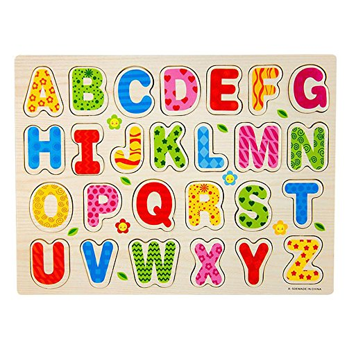 Gbell Fun Wooden A-Z Alphabet Letters Puzzle Set for Preschool Toddler Boys Girls,30×22.5×0.8 CM Jigsaw Board Educational Toy Gifts for 1-3 Year Old Baby Boys Girls Kids (Ship from US) ()
