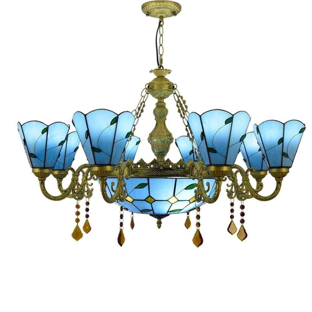 ヨーロッパの現代青クリエイティブシャンデリア、ティファニースタイルステンドグラスペンダントランプリビングルームの寝室の装飾天井ランプぶら下げライト B07R8JH644