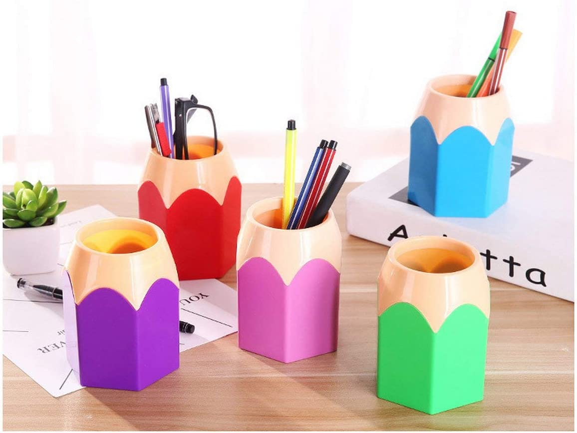 Greatangle Creative Stylo Vase Crayon Pot Porte-Stylo Conteneur Papeterie En Plastique Bureau Organisateur Tidy Conteneur /École Fournitures De Bureau Violet