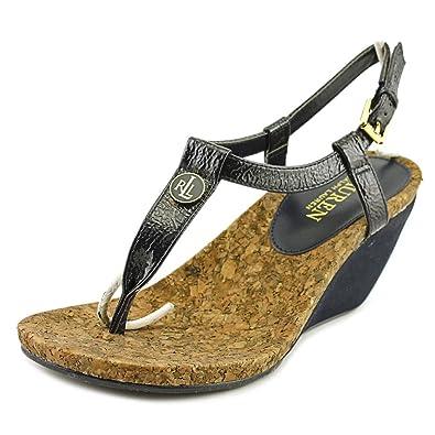 Lauren Ralph Lauren Womens Reeta Wedge Sandal, Modern Navy, Crinkle Soft  Patent, 7.5
