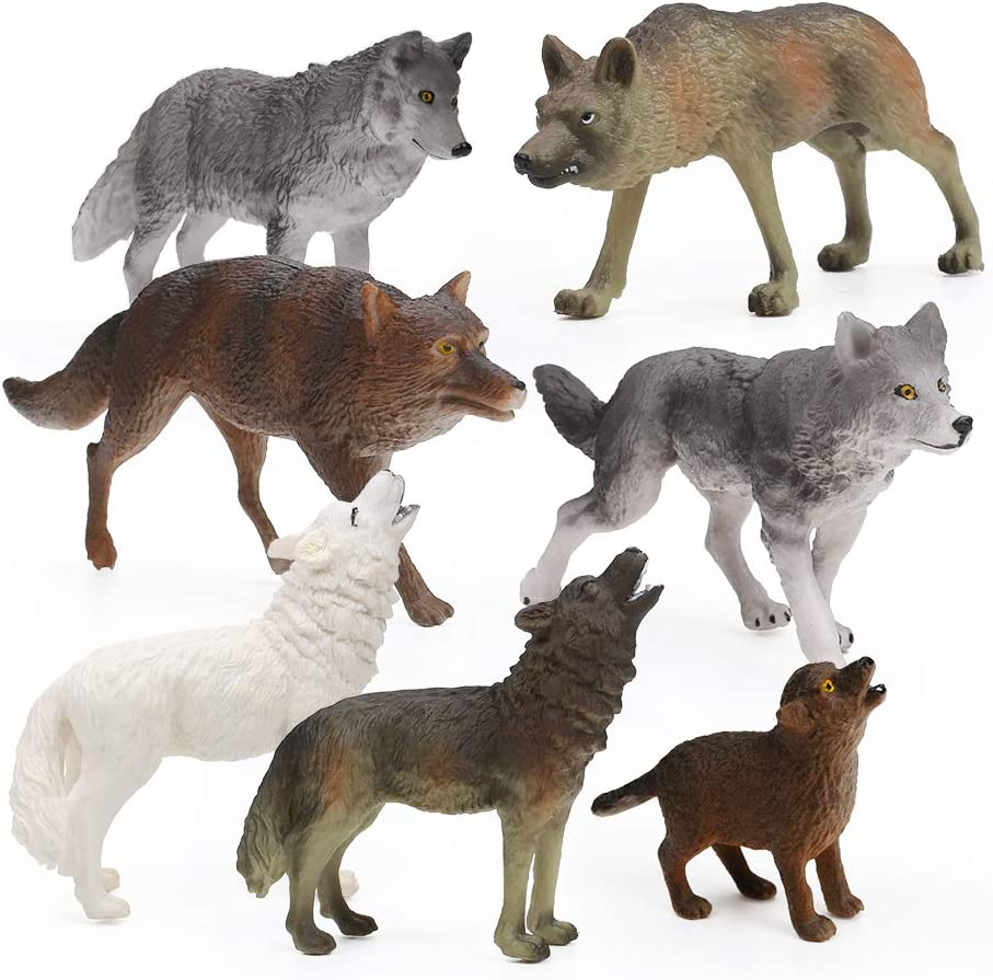 RESTCLOUD 7Pcs Wolf Toy Figurines Set Wolf Animals Figures