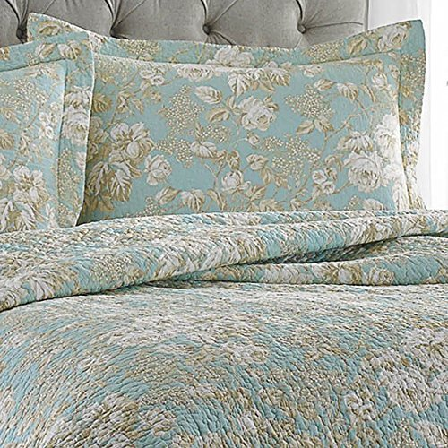 Laura Ashley Brompton Serene Reversible Quilt Set Full