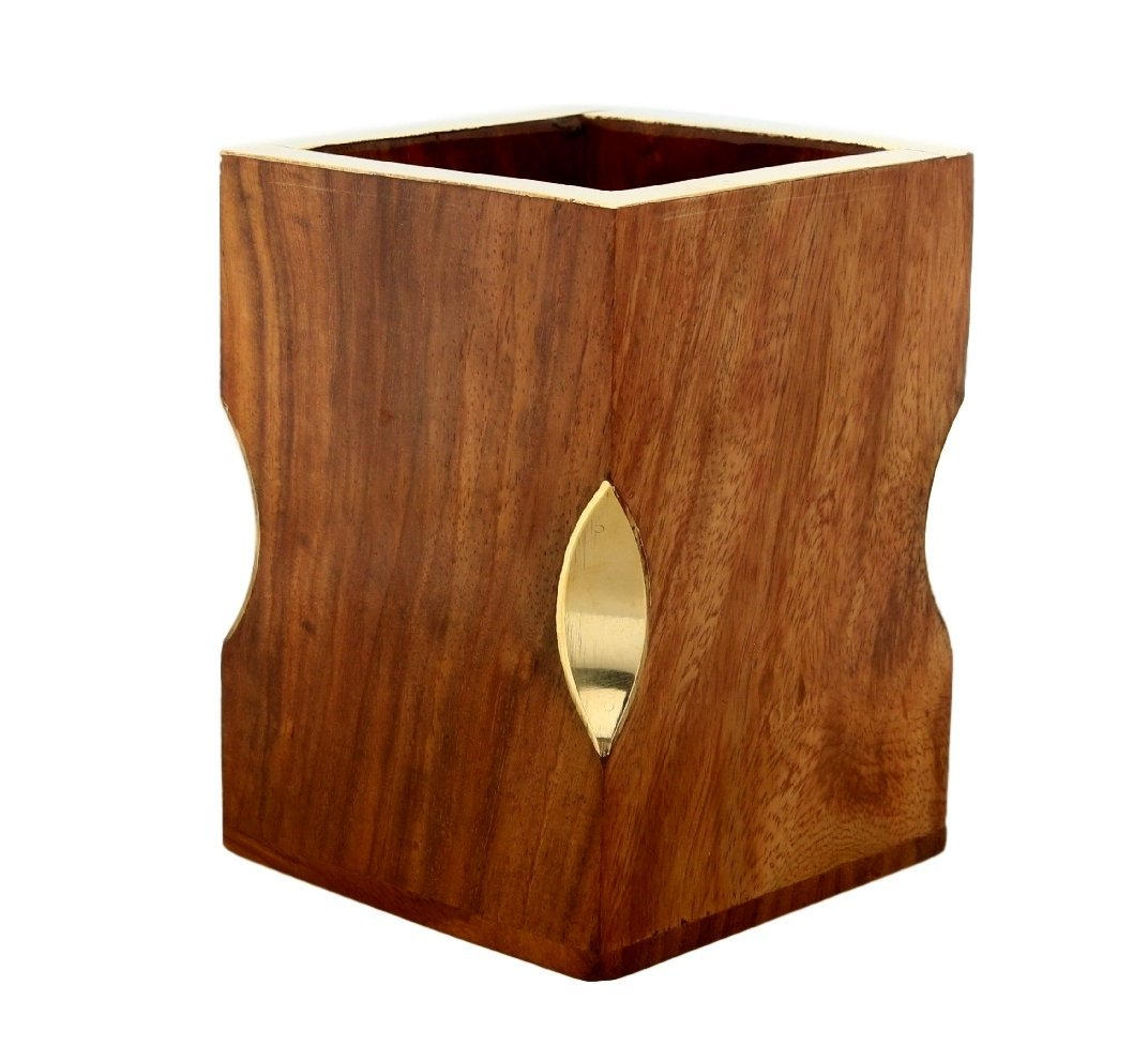 Handmade Indian Wooden Pen Stand Pencil Holder Made In Sheesham Wood And Brass Onlay 4 Inch,220 Grams