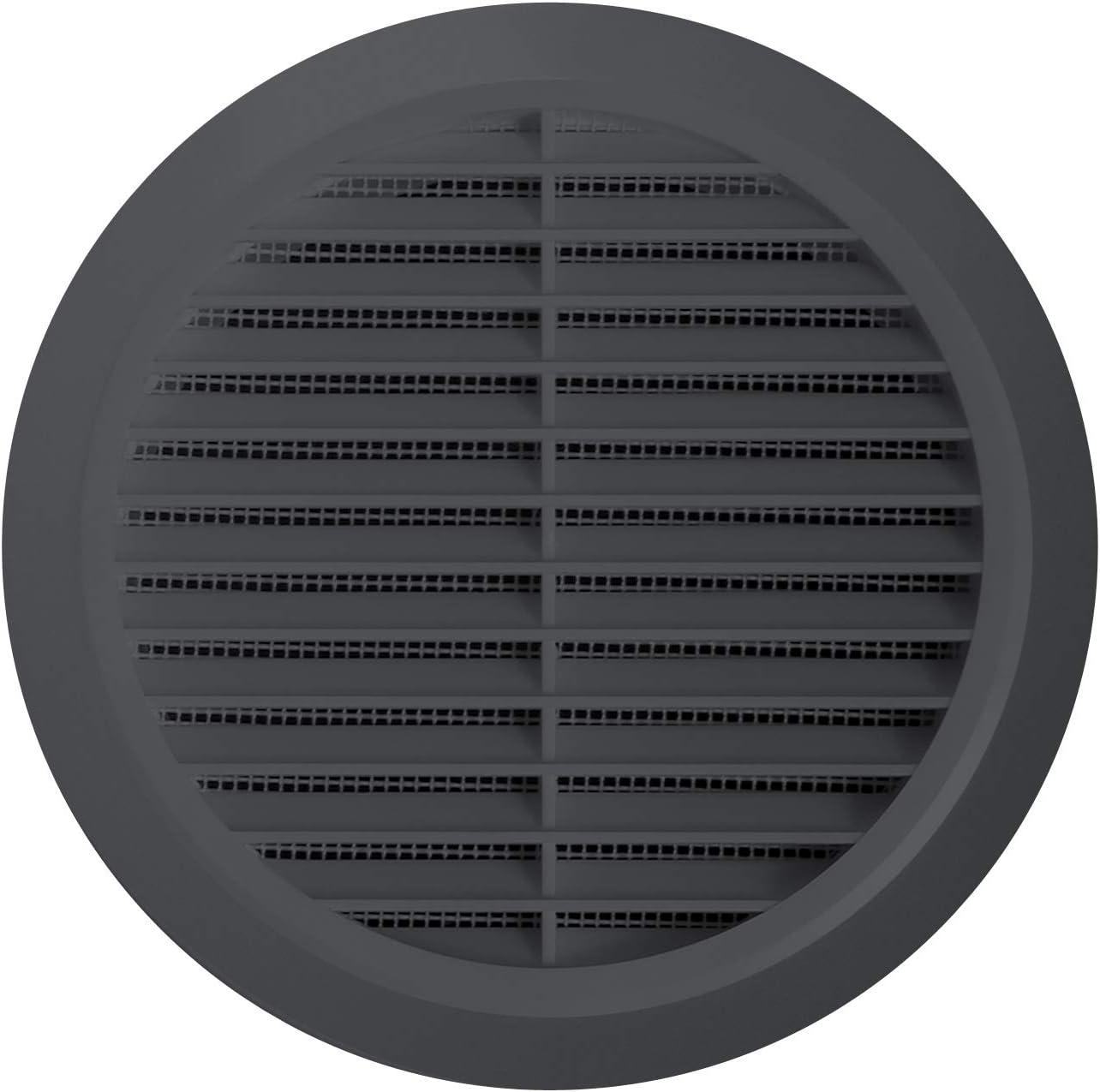 Rejilla de ventilaci/ón redonda antinsectos rejilla de ventilaci/ón anti-insectos pl/ástico 80/mm de di/ámetro Antracita