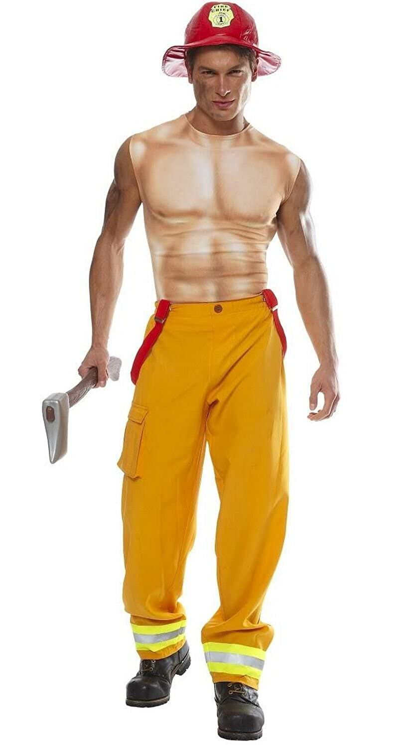 amazoncom sexy firefighter dude costume clothing - Fireman Halloween