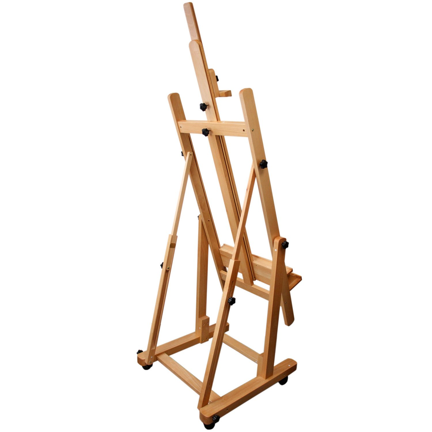US Art Supply Malibu Extra Large H-Frame Deluxe Adjustable Wood Studio Easel with Tilt and Caster Wheels by US Art Supply (Image #3)
