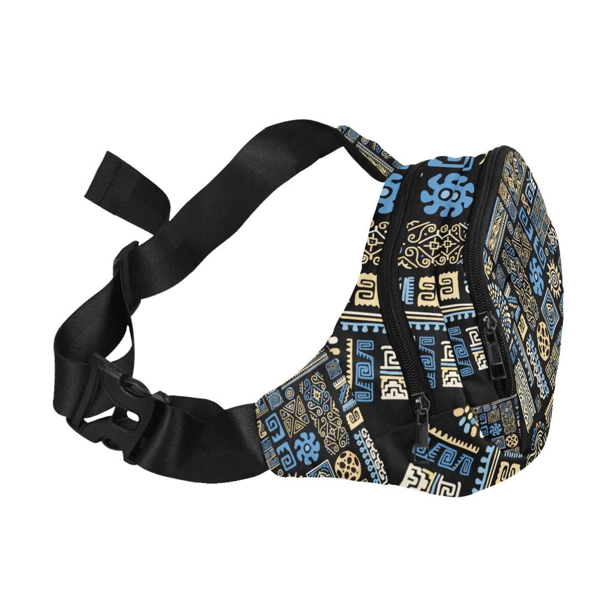 Beautiful Ethnic Decorative Lines Fenny Packs Waist Bags Adjustable Belt Waterproof Nylon Travel Running Sport Vacation Party For Men Women Boys Girls Kids
