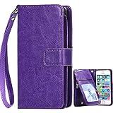 iPhone 5 Case, iPhone 5S Case, BENTOBEN iPhone SE Case [9 Credit Card Holder] [Wristlet ] PU Leather Magnet Wallet Flip Case Cover ID Card Slots for iPhone 5S 5 SE, Purple
