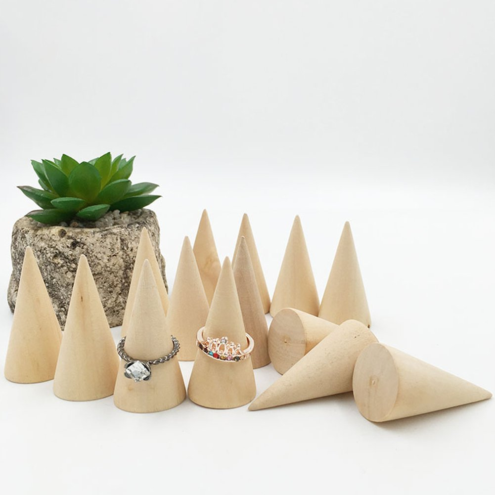 Whale GoGo 10 Pcs Small Natural Wood Cone Ring Display Stands Organizer Holders by Whale GoGo (Image #7)