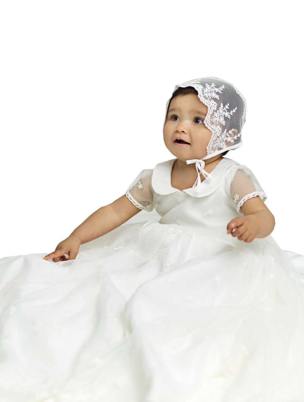 kelaixiang Baby Girls 2PCS Baptism Dresses Long Christening Dresses Satin Baptism Gowns For Baby