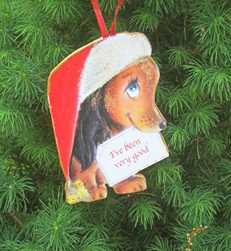 Dachshund Ornament Handcrafted Wood Christmas Decoration, Mid-Century Modern 1950s Christmas Card, Doxie Owner Gift, Dog Puppy Magnet -