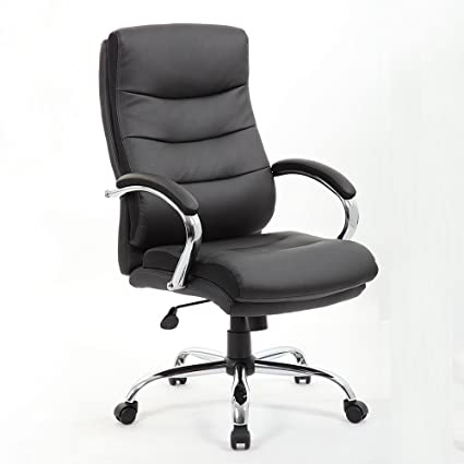 Soges High Back Office Executive Swivel Chair Desk Chair Black Leather Chair  With Arms,