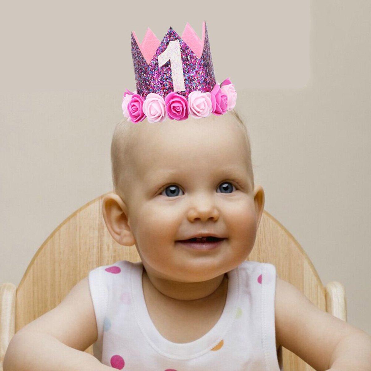 BESTOYARD Princesa Corona Cumplea/ños para Beb/é de Flor Uno A/ño Edad Rosado