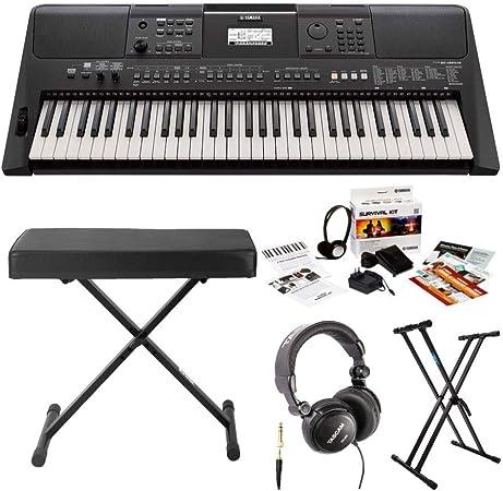 Yamaha PSRE463 teclado portátil de 61 teclas con soporte Knox, banco, auriculares y kit de supervivencia (incluye adaptador de alimentación)