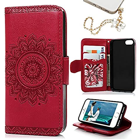 iPhone SE & 5 & 5S Case, MOLLYCOOCLE Stand Wallet Premium PU Leather Skin Cover Magnetic Flip Folio TPU Cushion Bumper Embossed Flower Design for iPhone SE & 5 & 5S & Bling Butterfly Dust (Flip Cover Iphone 5 Bling)
