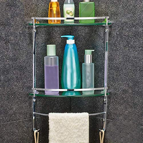 Glass Corner Shelf, with Stainless Steel Wire Drawing and Towel Bar (1/2 Tier Tempered Glass 8mm Thick) Bathroom Shelf Wall Mount (Size : 2548CM) (1/2 Adjustable Punch Heavy Duty)