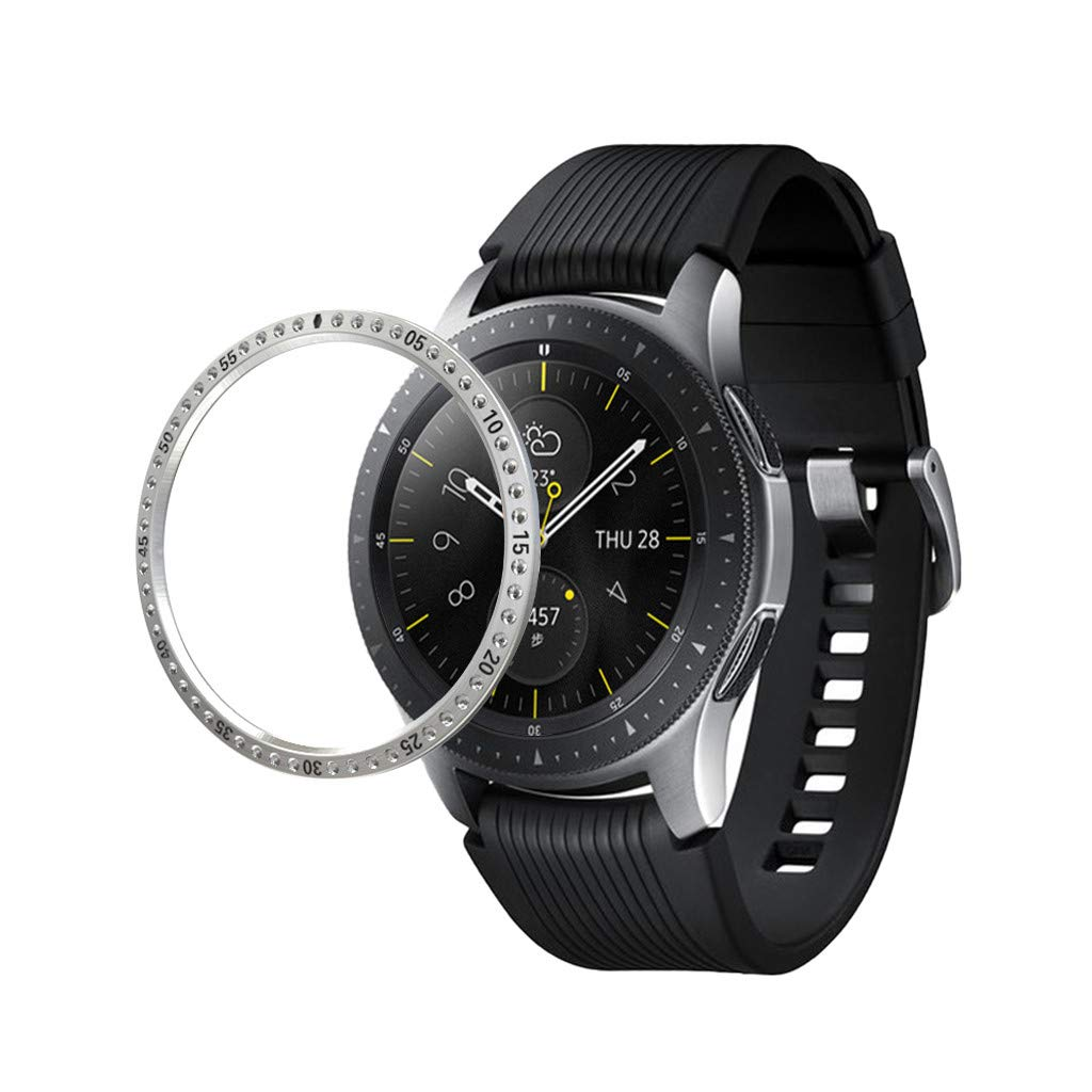 for Samsung Galaxy Watch 42MM, Crystal Diamond Stainless Steel Bezel Ring Adhesive Cover Anti Scratch Metal Bezel Styling (Silver)