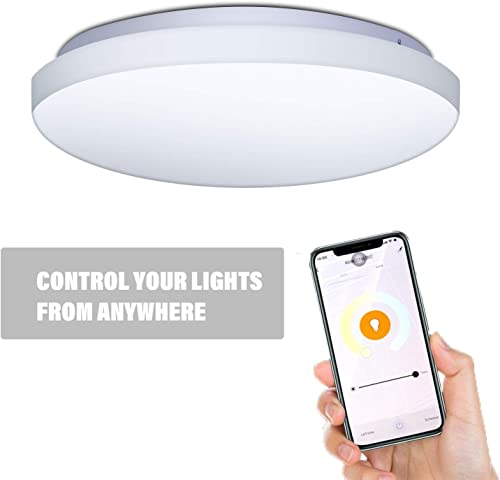 MKD LED Flush Mount Ceiling Light,Dimmable 20W WiFi Smart 14 Round Surface Mount Light Fixture for Bathroom Bedroom Dining Room for iOS and Android WiFi Smart 14