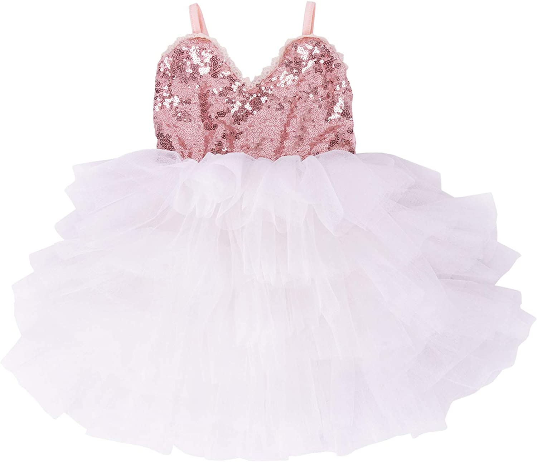 Carolilly Long Sleeve Dress for Girls Vintage Tutu Dress Sequined Princess Dress for Girls 1-5 Years Tutu Dress Spring Autumn Winter