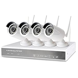 720P 4 Channel Outdoor Waterproof Wireless IP Security Camera Surveillance System Kit with 1TB HDD