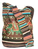 Patchwork Brown Cotton Hobo Crossbody Shoulder Bag Hipster Boho Sling Messenger School Casual