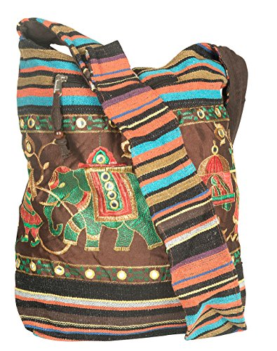 Patchwork Handmade Brown Blue Cotton Hobo Crossbody Shoulder Bag Hipster Boho Women Sling Slouch Messenger School Everyday Casual Fashion - Jacquard Hobo Style Bag