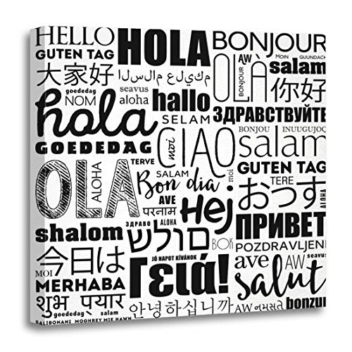Emvency Canvas Wall Art Print Indian Hello Word Cloud in Different Languages of The World Concept Diversity Artwork for Home Decor 20 x 20 Inches for $<!--$36.99-->
