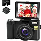 Digital Camera Vlogging Camera with YouTube 30MP Full HD 2.7K Vlog Camera with Flip Screen 180° Rotation with 32GB Memory Car